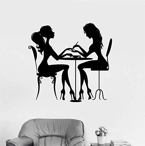 Qthxqa Schönheitssalon Nagel Vinyl Wandaufkleber Haar Frau Mädchen Kunst Tapete Kunst Dekor Wohnkultur Nette Wohnzimmer Wandaufkleber 56 * 60 (Nägel Halloween Nette Für)