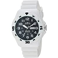 Invicta Coalition Forces Men's Black Dial Silicone Band Watch - In-25326, White Band, Analog Display