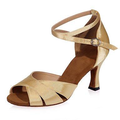 XIAMUO Nicht anpassbar - Die Frauen tanzen Schuhe Satin Satin Latin Sandalen entzündete Ferse Praxis/Innen-/PerformanceBlack/Braun/Rot/Silber/ Rot