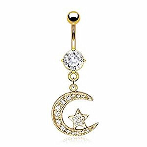 1 x Clear Multi Crystal Crescent Moon and Star Dangle Gold Plated Belly Bar, 1.2mm Thickness 10mm Length Gold Plated Surgical (Crescent Kostüm Moon)