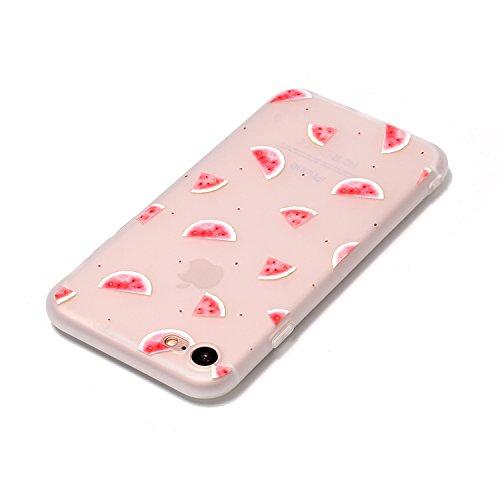 iPhone 8 Hülle,iPhone 7 Hülle,iPhone 7/iPhone 8 Silikon Hülle Tasche Handyhülle,SainCat Relief Obst Muster Ultra dünne Silikon Hülle Schutzhülle Durchsichtig Hadytasche Stoßfeste TPU Gel Case Bumper W Watermelon Klappe