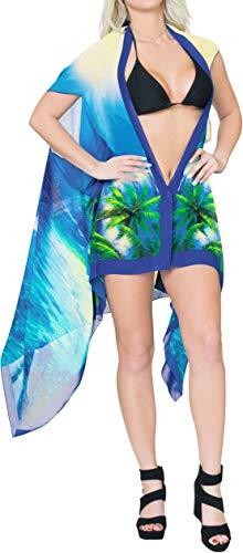 Damen Badeanzug Kimono Cardigan Chiffon 3D HD Print - Blau - OSFM 10 / 22W [M / 3X] Bay Cape
