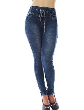 FARINA®1360 Pantalon vaquero de mujer, Push up/Levanta cola, pantalones elasticos colombian,color azul,talla 34...