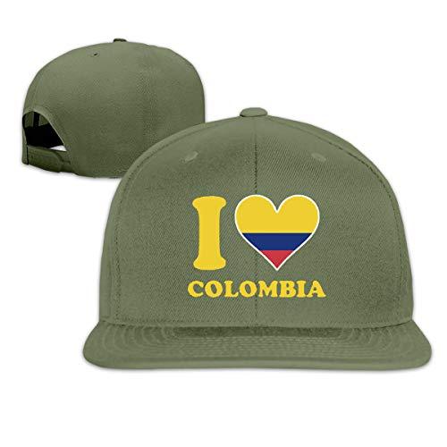 Osmykqe I Love Colombia Men's Cap Summer Baseball Caps Snapback Hat Lightweight Soft Cotton Flat Cap Moss Tweed