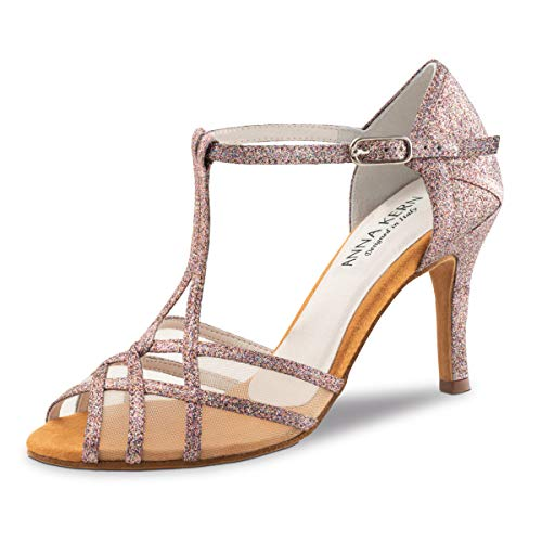 Anna Kern - Damen Tanzschuhe 870-75 - Brokat Pink/Multicolor - 7,5 cm Stiletto [UK 4]