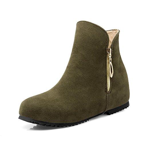 Kurze Winter Stiefel von Frauen erhöht, runder Kopf Keil und Gummi unten, Militär Grün, 47 (Niedrige Keil Womens)