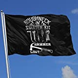 OLYIE Flaggen Roughneck Starter Kit Funny Oilfield 3x5 Foot Flags Outdoor Flags 3X5 Ft Flag for Outdoor Indoor Home Decor Sports Fan Football Basketball Baseball Hockey Decorative Banner