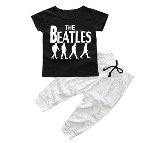 Per0-2 anni bambino,Amlaiworld 1set Primavera Occidente t-shirt O-collo + pantaloni lunghi (100)