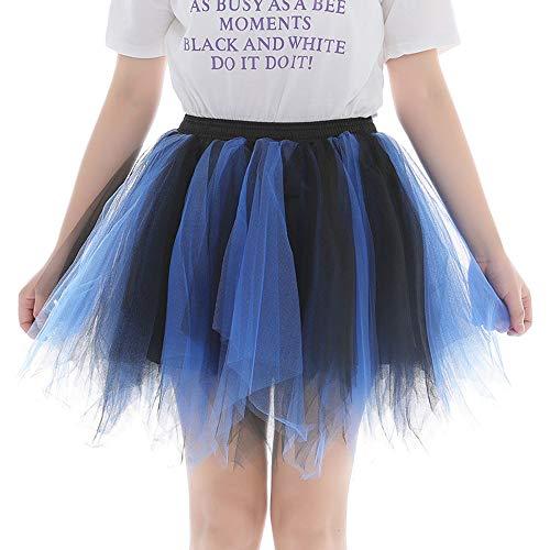 WOZOW Tüllrock Damen Gradient Zweifarbig Minirock Tanzkleid Multi-Schichten Elegant Tanzkleid Party Cosplay Halloween Karneval Kostüm Frauen (60-110,Blau)