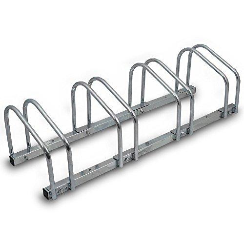 BITUXX® Fahrradständer Aufstellständer Radständer Fahrrad Bike Ständer Metall Verzinkt Platzsparend (Für 4 Fahrräder)