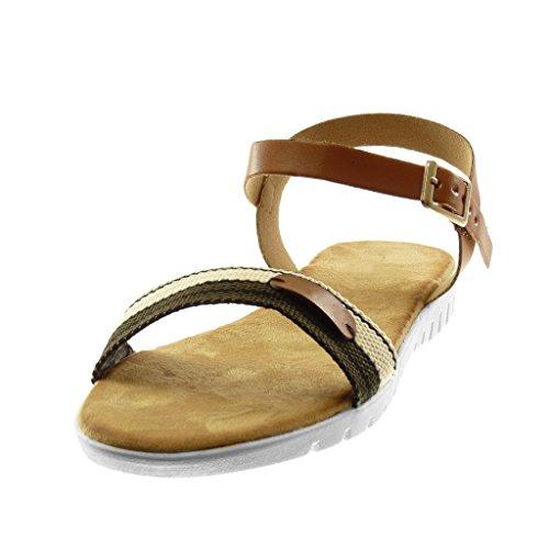 Angkorly Chaussure Mode Sandale Lanière Cheville Semelle Basket BI-Matière Femme Tricolore Lanière Boucle Talon Compensé 2 CM Camel