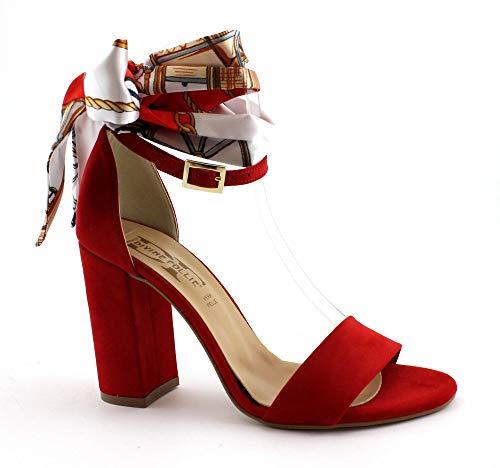Divine Follie 618 Rosso Scarpe Sandali Donna Tacco Cinturino Fiocco Nastro 40