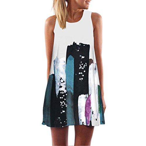 VEMOW 2018 Neue Mode Vintage Boho Elegante Damen Frauen Lose Sommer Sleeveless 3D Blumendruck Bohe Casual Täglichen Party Strand Tank Minikleid(Weiß 3, EU-42/CN-M)