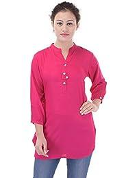 Mystique India Pink Plain Viscose Short Kurti For Women