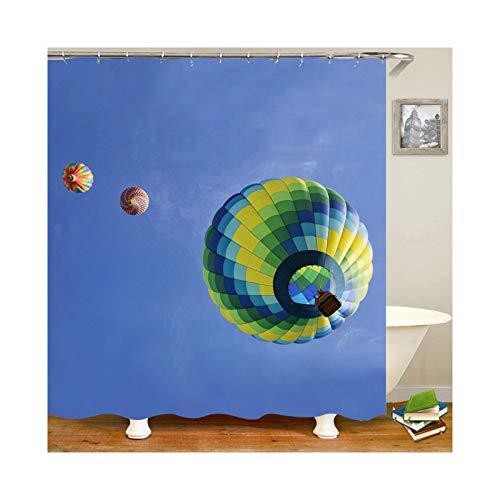 Bishilin Polyester-Stoff Duschvorhang Waschbar 3 Heißluftballons 3D Anti Schimmel Duschvorhang 180x200