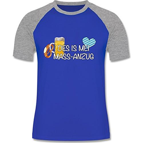 Oktoberfest Herren - Mass-Anzug - zweifarbiges Baseballshirt für Männer Royalblau/Grau meliert