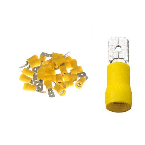 25 teilisolierte Flachstecker 6,3x0,8 gelb 4,0 bis 6,0 mm² 031 Crimp