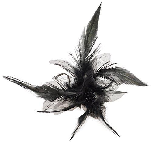 Damen Brosche Isidra Feder Perlen Blume Retro Ansteckschmuck Durchmesser ca. 11cm