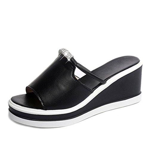 Frauen Hausschuhe Sommer Schuhe Zwängt Kristall Weiblichen Hausschuhe Frauen Plattform Beleg Auf Offene Zehen Schuhe Für Frauen Dias Black 6