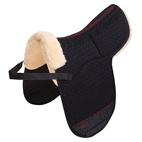 Satteldecke Lammfell Dressur Champ-Ultra-Doppeltasche von CHRIST – Dressursatteldecke mit Sitzbereich aus echtem Fell, aufpolsterbare Sattelunterlage, in schwarz, Größe Warmblut