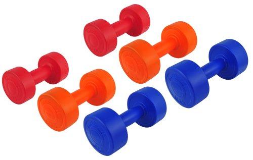 12 Kg (2x1, 2x2, 2x3) Kunststoff-ummantelte Gymnastikhanteln / Fausthanteln / Rundhanteln