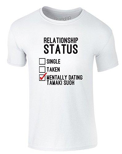 Brand88 - Mentally Dating Tamaki Suoh, Erwachsene Gedrucktes T-Shirt Weiß/Schwarz/Rote