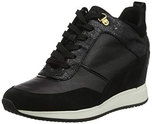 Geox d nydame c, scarpe da ginnastica basse donna, nero (black c9999), 37 eu