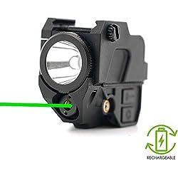 viseur laser de pistolet tactique vert, lampe de poche à DEL de 220 lumens, 2-en-1, batterie rechargeable intégrée, accessoires pour armes de poing, rails de picatinny de 20mm