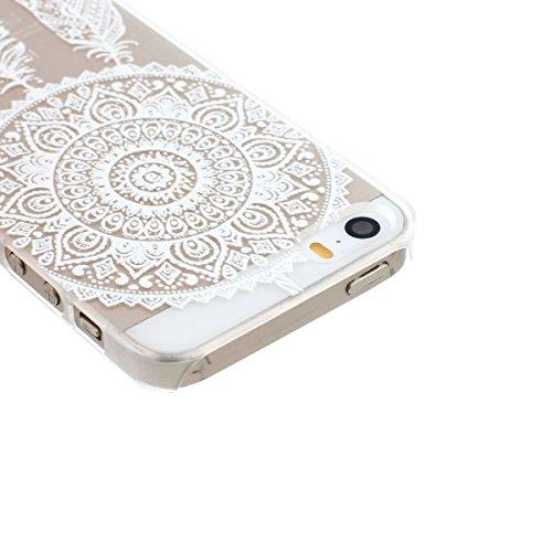 ARTLU® Henna White Floral Paisley Flower Mandala Cuir Coque Strass Case Etui Coque étui de portefeuille protection Coque Case Cas Cuir Swag Pour iphone 5/5S A3 9