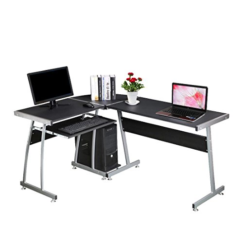Bigzzia L Shape Corner Computer Desk Table Home Office PC Workstation Table with Sliding Keyboard Shelf