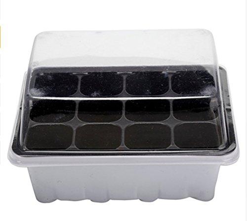 Smartrich 4 pcs 12 cellules trou de graines de jardin cultiver Box, plastique Légumes Fleur Plante plateaux blanc