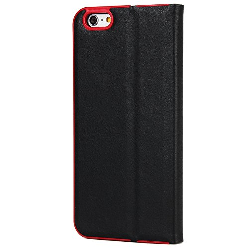 Custodia Cover per iPhone 6S plus, Ukayfe Luxury Puro Colore 3D Design Litchi Tessitura PU pelle Bumper Slim Folio Protectiva Lussuosa Custodia Cover per iPhone 6 plus, [PU Leather] [Shock-Absorption] Nero #
