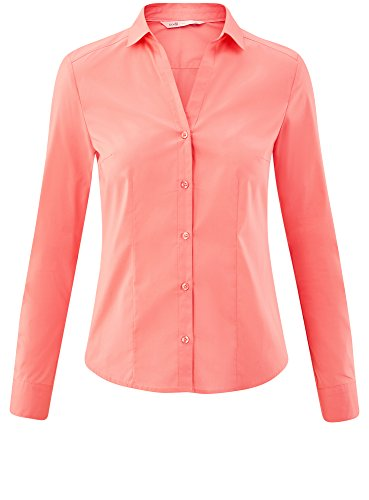 oodji Ultra Damen Taillierte Bluse mit V-Ausschnitt Rosa (4100N)