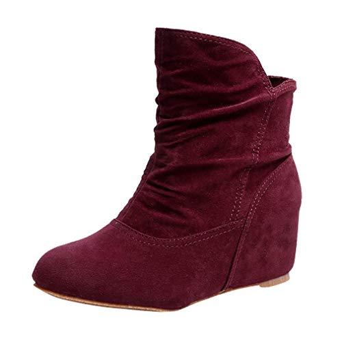 Botas de Cuña de Ante para Mujer Botines de Invierno Botas Martin Botas Cálidas de Invierno Zapatos Planos Gris/Negro/Rojo Vino/Marrón