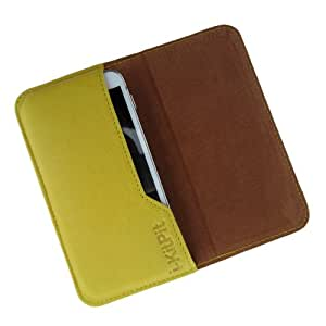 i-KitPit : Genuine Leather Flip Pouch Case Cover For Intex Cloud Y2 (YELLOW)