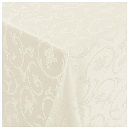 Tischdecke Damast Stoff -Barock Design Tulpen- Tischtuch Bügelarm von Moderno |eckig 130x190 cm in...