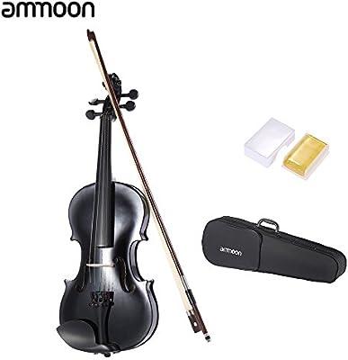 Ammoon 4/4 Violín de Estudiante Negro Metálico Equipado con Cuerdas de Acero w / Bow Arbor + Case para Principiantes Amantes de la Música