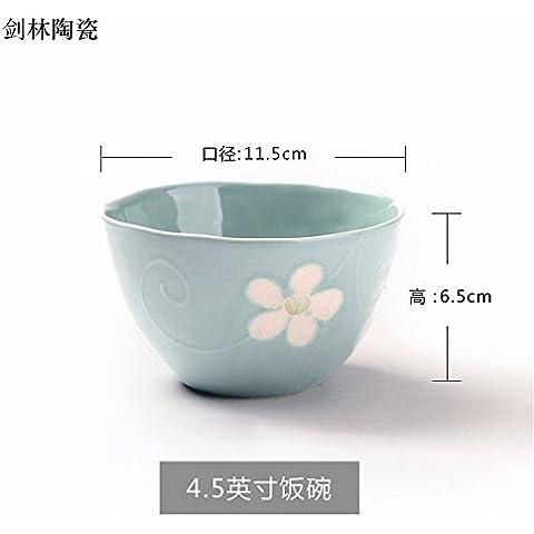 Il riso ciotole di riso bocce di piccole , in ceramica per usi domestici ciotola per mangiare il riso bocce , Singola blu ,11,5*6,5 cm