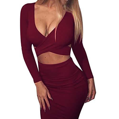 Masoness Damenbekleidung❤️❤️Frauen Herbst und Winter Sexy V-Ausschnitt Tasche Hip Clubwear Langärmeliges Kleid,Weibliche schlanke Lange Ärmel offen sexy Pack Hip Night Shop Kleid (Cross Verstellbare Leder Halskette)