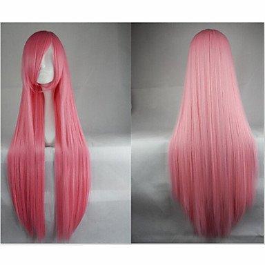HJL-heißer Verkauf 40 Zoll Hochtemperaturfaser lange Gerade rosa Cosplay Perücke Seite bang (Rosa Perücken Für Verkauf)