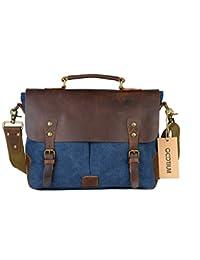 18c6d19d99e6 Gootium Messenger Bag Vintage Canvas Leather Messenger Bag Men s 14 inch  Laptop Shoulder Bag Briefcase