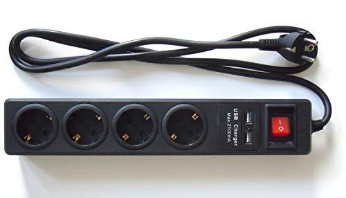 Regleta de 4 Tomas + 2 Puertos USB. Negro. Cable 1.5 Metros...