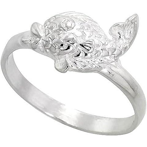 Anello in argento Sterling, taglio a diamante, a forma di pesce