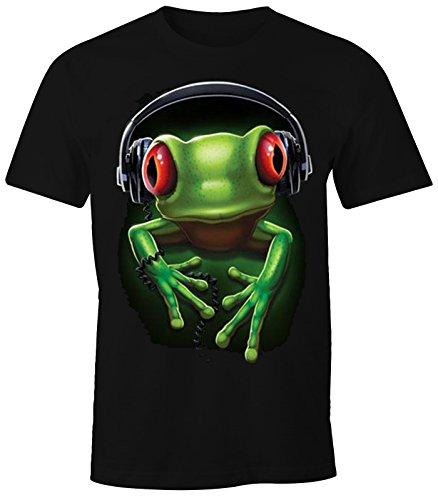 MoonWorks Herren T-Shirt - Frosch Frog DJ Kopfhörer - Comfort Fit schwarz XS