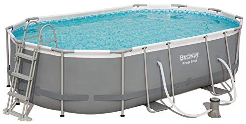 Bestway Power Steel Frame Oval Pool im praktischen Komplett Set, 488x305x107 cm