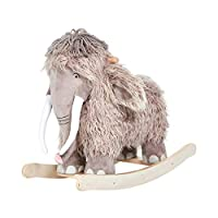 labebe Baby Rocking Horse, Wooden Plush Rocker Toy, Mammoth with Swings Baby Riding Horse, Toddler Outdoor&Indoor Toy Rocker, Plush Animal Rocker Chair