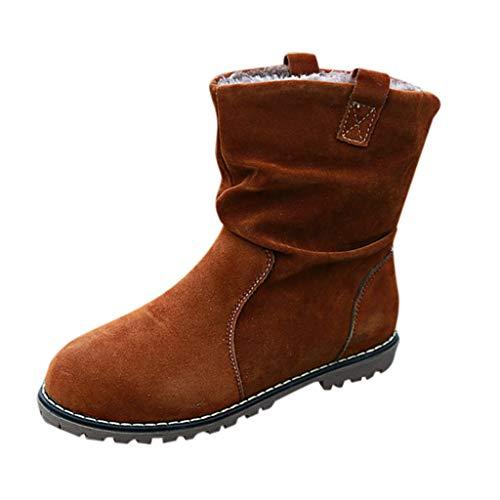 catmoew Stiefel Damenschuhe Winter Frau Retro Plus Samt Schneeschuhe Britischer Stil Römische Schuhe Damenstiefel Kurz Knöchel Lederstiefel Warme Schuhe (Plus Baumwolle)