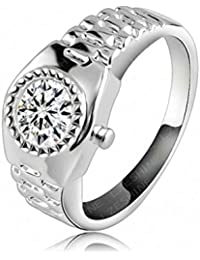 1ac685270836 Daesar Joyería Aillo Compromiso Chapado en Oro Boda Banda Watch Cubic  Zirconia Anillo de Matrimonio