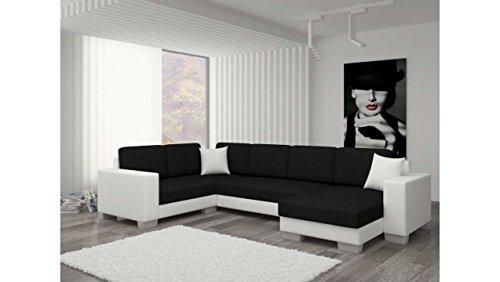 JUSTyou Marco II Canapé d'angle panoramique Sofa Ensemble de Salon Tissu structuré Simili Cuir (lxLxH): 145-206x303x86 cm Blanc Noir Angle Droit