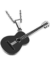 BOBIJOO Jewelry - Colgante de Guitarra Clásica en Seco Acústico de 5 cm de Viajero Acero